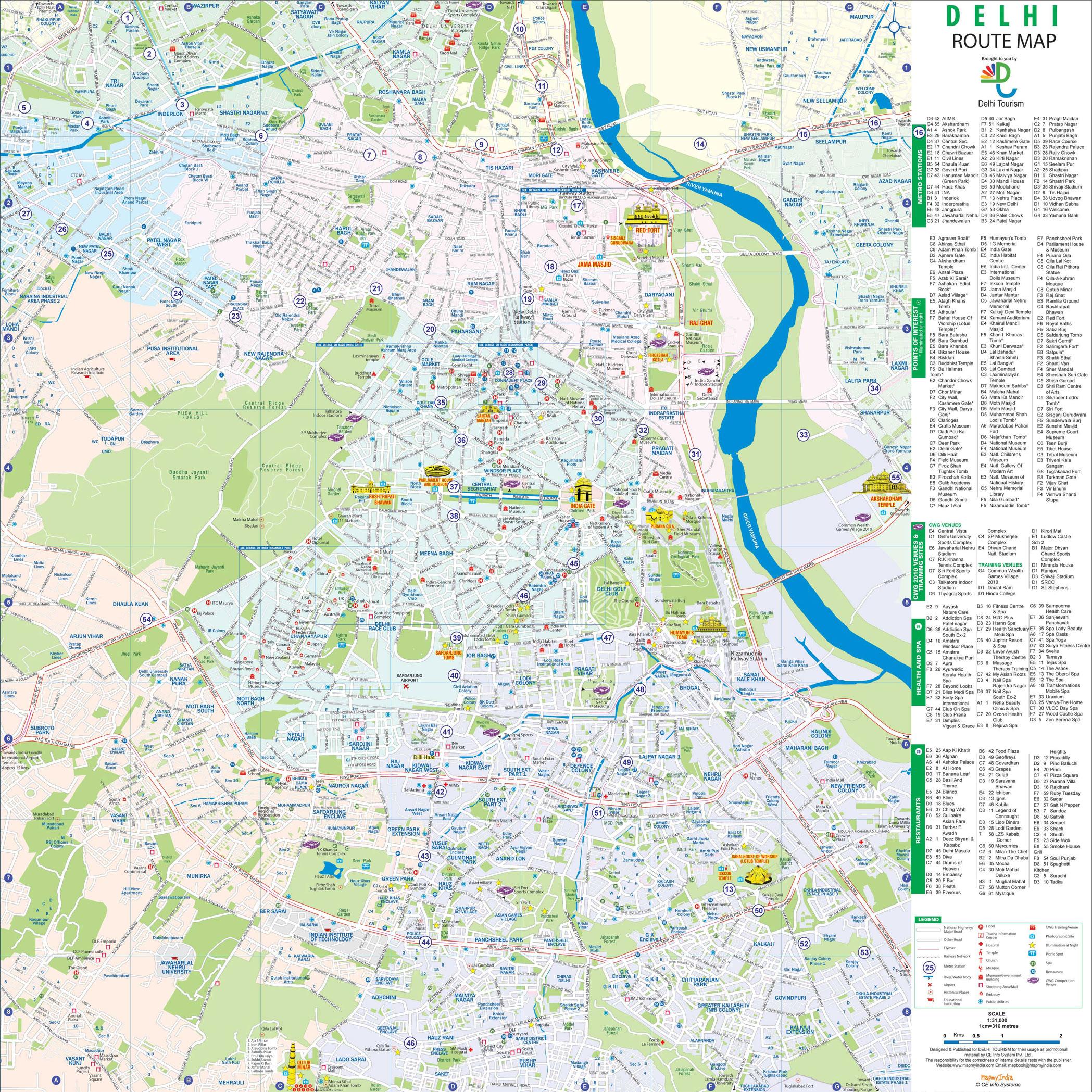 new-delhi best areas tourist-map